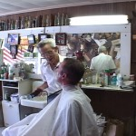 Ian McGaughey gets a haircut in Grayson